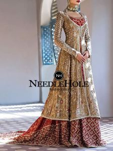 Red And Gold Bridal Lehenga Dress For Brides