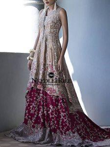 Hot Pink And Gold Designer Wedding Lehenga Dress For Brides