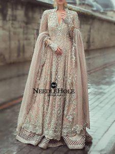 Desert Sand Long Wedding Gown With Embellished Lehenga And Dupatta