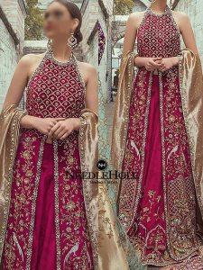 Dark Pink Long Shirt Bridal Lehnga Dress For Brides