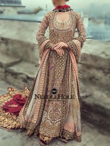 Desert Sand Long Wedding Gown With Embellished Lehenga And Dupatta