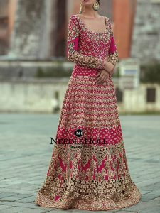 Hot Pink Pakistani Bridal Gown With Laced Border On The Dupatta And Laced Border On The Sharara