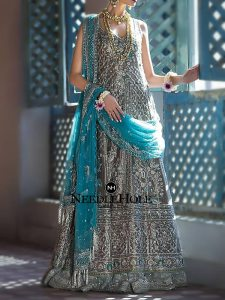 Traditional Pakistani Wedding Gown Design In Taupe Color With Light Bridal Sharara And Tiffany Blue