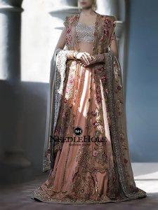 Miraculous Pakistani Wedding Lehenga Dress In Apricot Colour